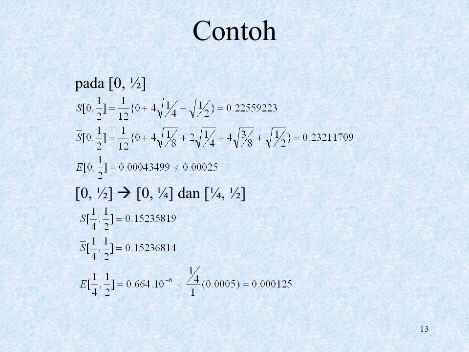 Contoh pada [0, ½] [0, ½]  [0, ¼] dan [¼, ½]